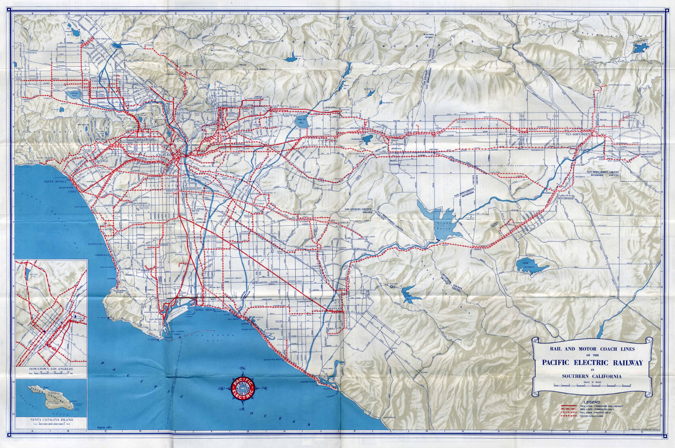 1947 Pacific Electric System Map