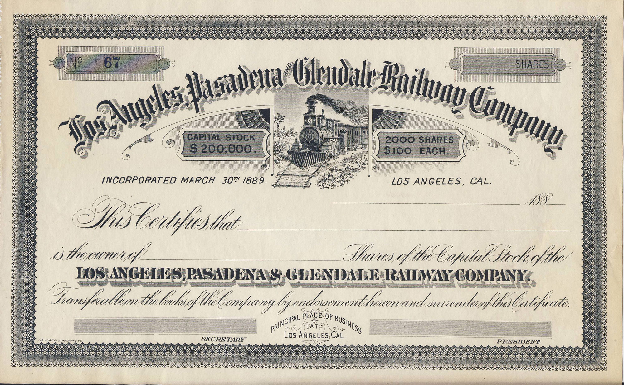 photograph relating to Printable Stock Certificates named Los Angeles, Pasadena Glendale Railway Blank Inventory