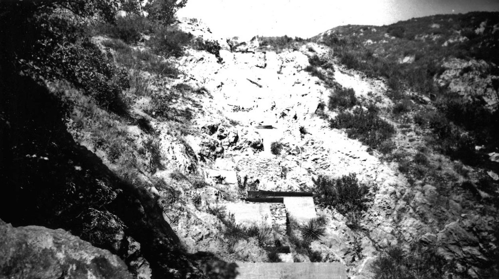 A view of the Mount Lowe Incline Railway from Rubio Canyon, December 26, 1947. Alan Weeks Photo, Alan Weeks Collection