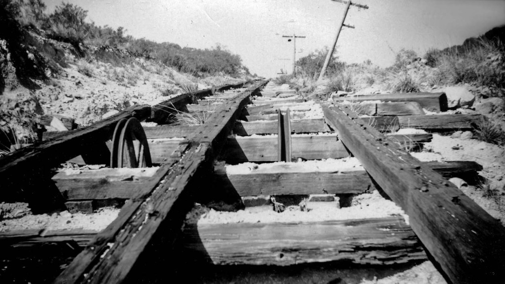 Remnants of the Mount Lowe Railway Great Incline, taken December 26, 1947 by Alan Weeks.