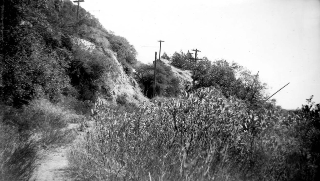 Mount Lowe Railway right-of-way near the Circular Bridge. Photographed by Alan Weeks on February 22, 1949.