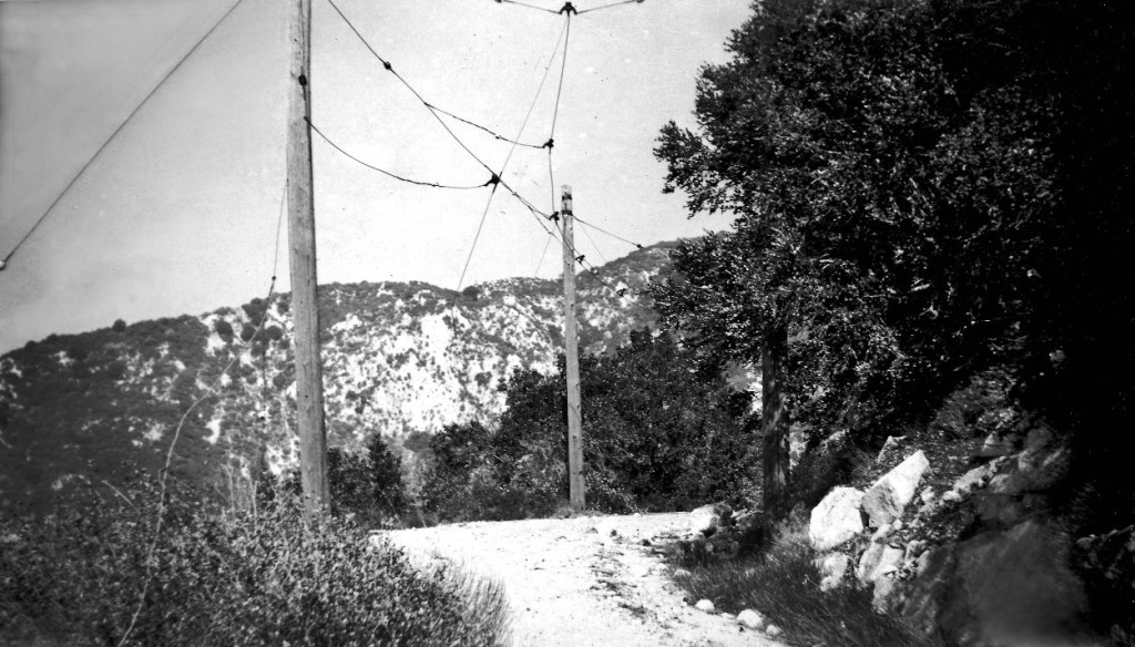 Abandoned overhead near the Alpine Tavern on the Mount Lowe Railway, photographed by Alan Weeks on February 22, 1949.