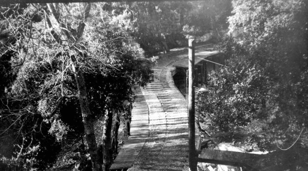 Remants of the Mount Lowe Railway bridge entering into Alpine Tavern, photographed by Alan Weeks on February 22, 1947.