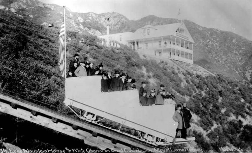 Historic image of the Great Incline Railway with Echo Mountain House in the background. Alan Weeks Collection.