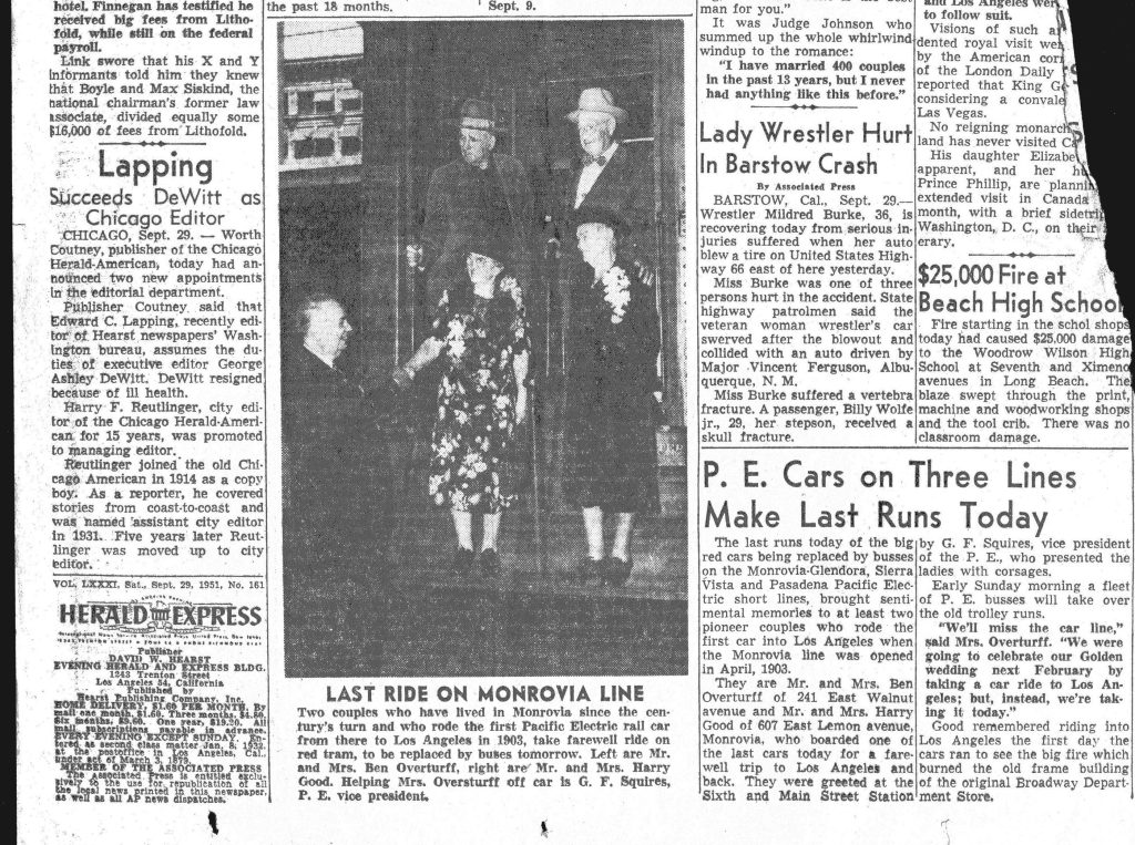 Los Angeles Examiner article, Charles Wherry Collection