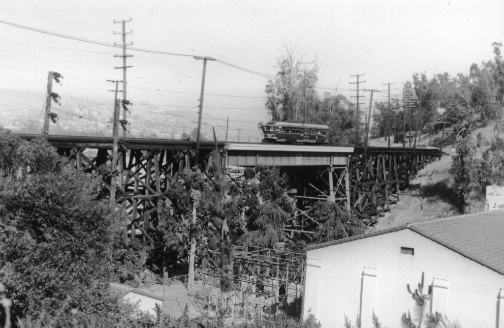 Fletcher Drive Viaduct; 5010 on bridge and 5160 at rear. Loren Ayers photo, Ayers Family Collection.
