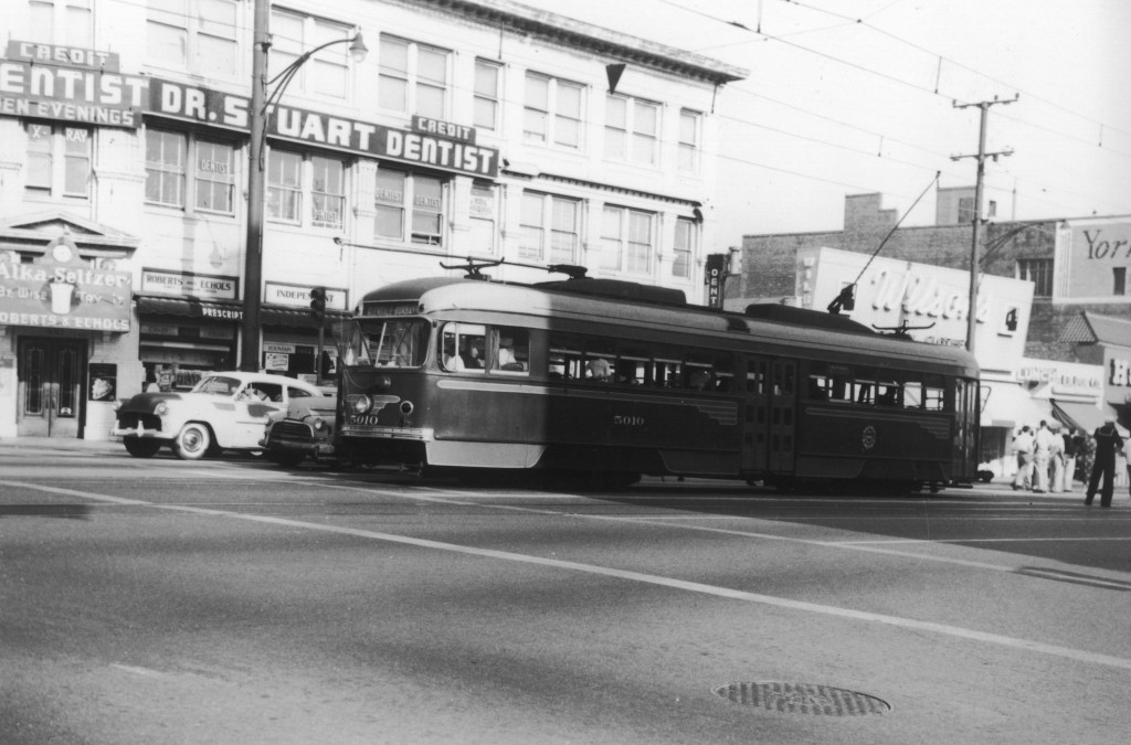 Location: Brand Blvd. at Broadway, Glendale, CA; view is towards the southeast corner of the intersection. Loren Ayers photo, Ayers Family Collection.