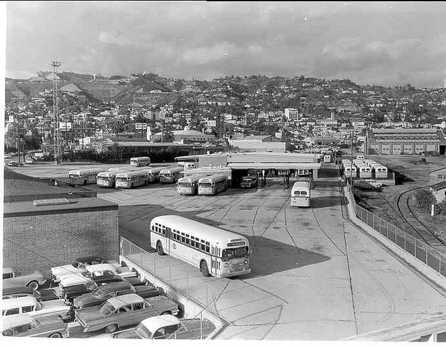 It's 1960, and this is the former Pacific Electric West Hollywood Shops and Yard, now 100% bus. Ralph Cantos Collection.