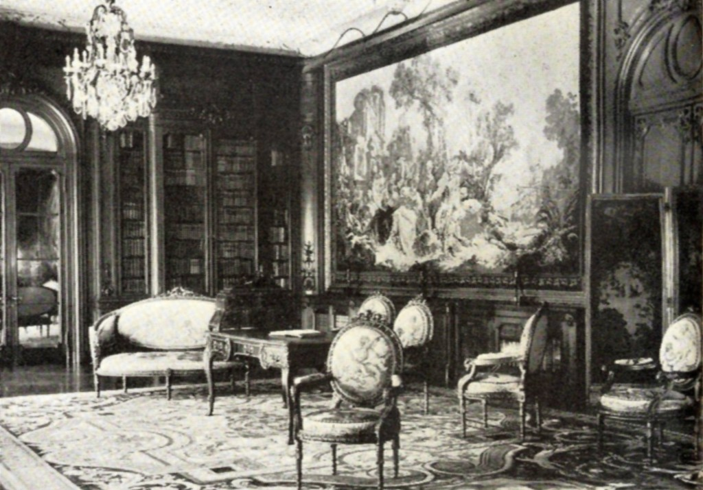 "This view shows the library in the Art Gallery. On the wall is the tapestry, ""The Fountain of Love,"" one of a set of five panels, known as ""La Noble Pastorale,"" designed by Francois Boucher and woven at Beauvais in 1755-56. The rug is of the period of Louis XIV, and was made at La Savonnerie, where many rugs and panels for the Royal apartments were manufactured. Mount Lowe Preservation Society Inc. Collection"