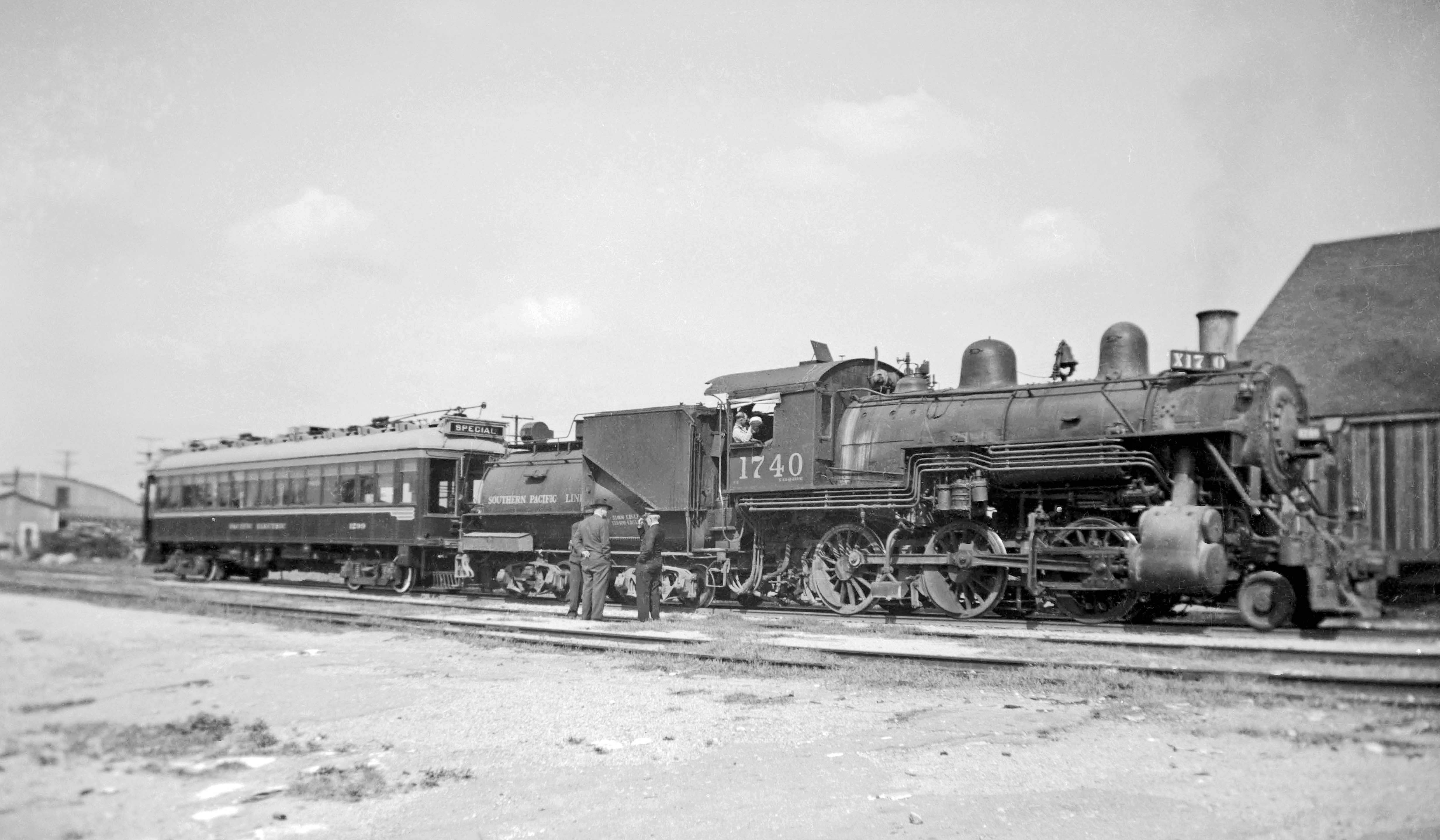 1299 and Southern Pacific 1740 at Covina - Pacific Electric