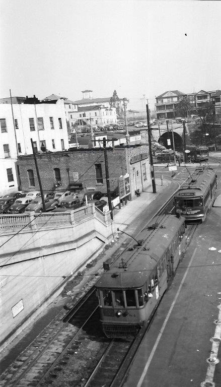 Hill Street Tunnel #2 in better times. Pacific Electric no. 695 at Temple & Hill Streets, 1946.