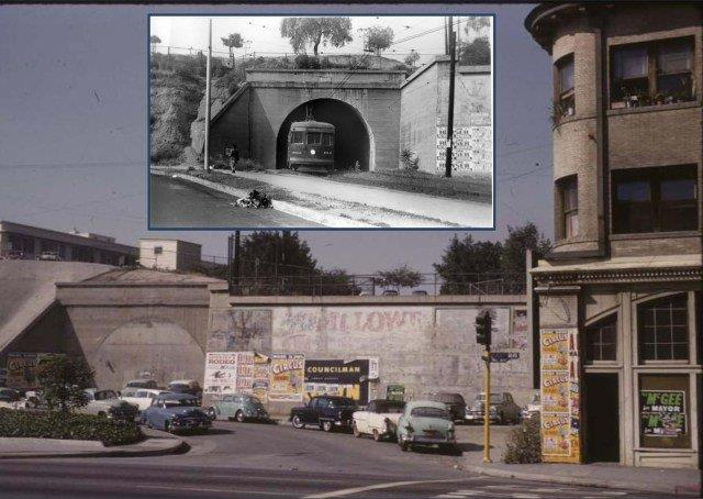 The north portal of tunnel #2 in service about 1946, and abandoned arount 1956.