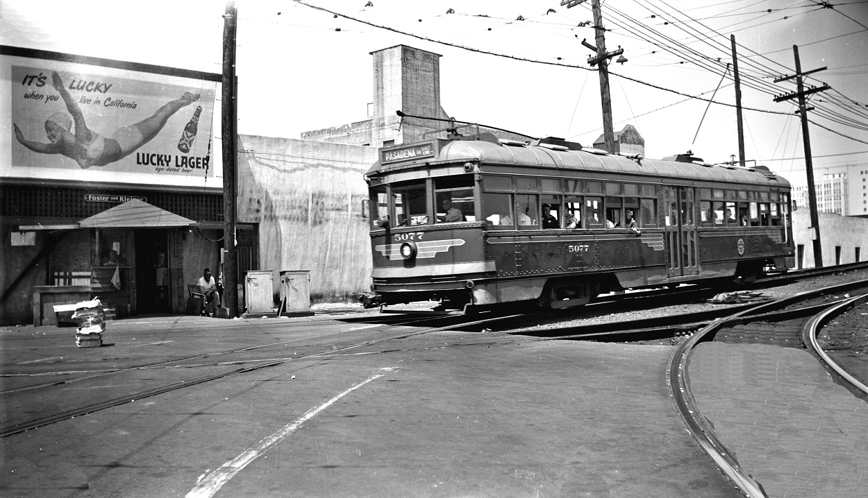 PE 5077 Pasadena Short Line Main Street Station ramp, July 7, 1951