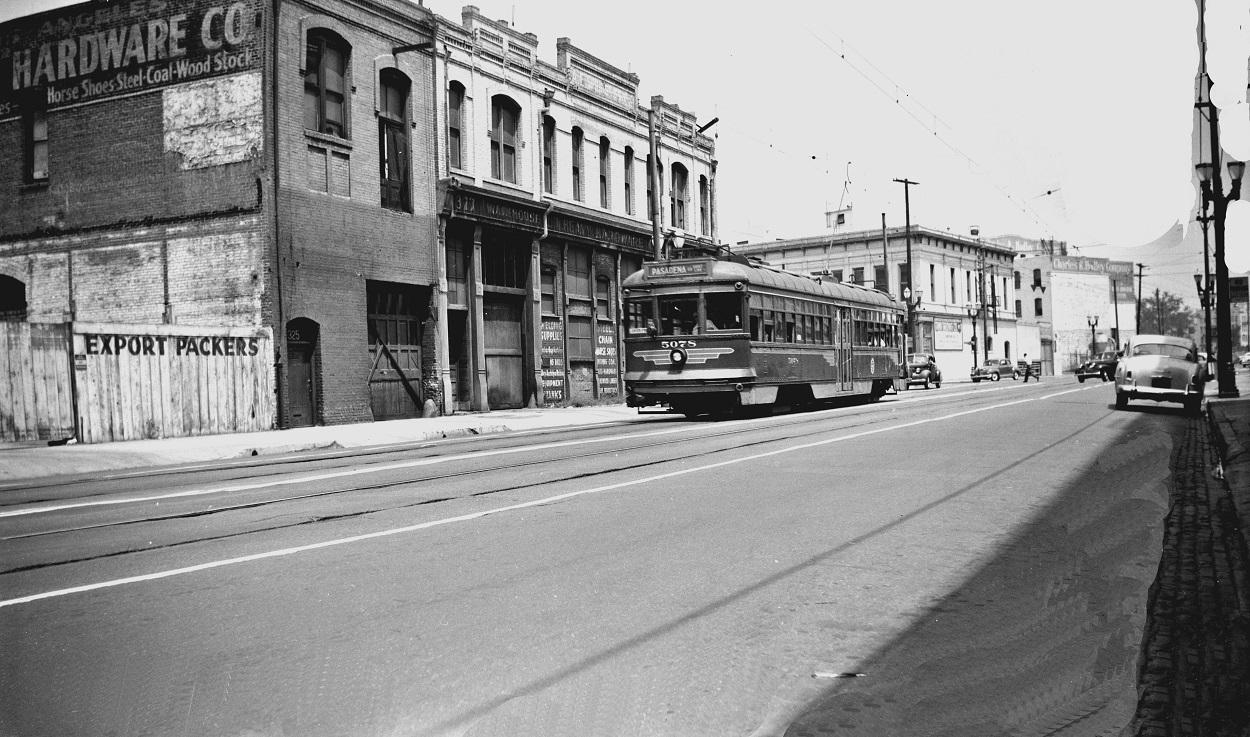 PE 5078 Pasadena Short Line, South of Aliso Street on San Pedro Street, August 4, 1951