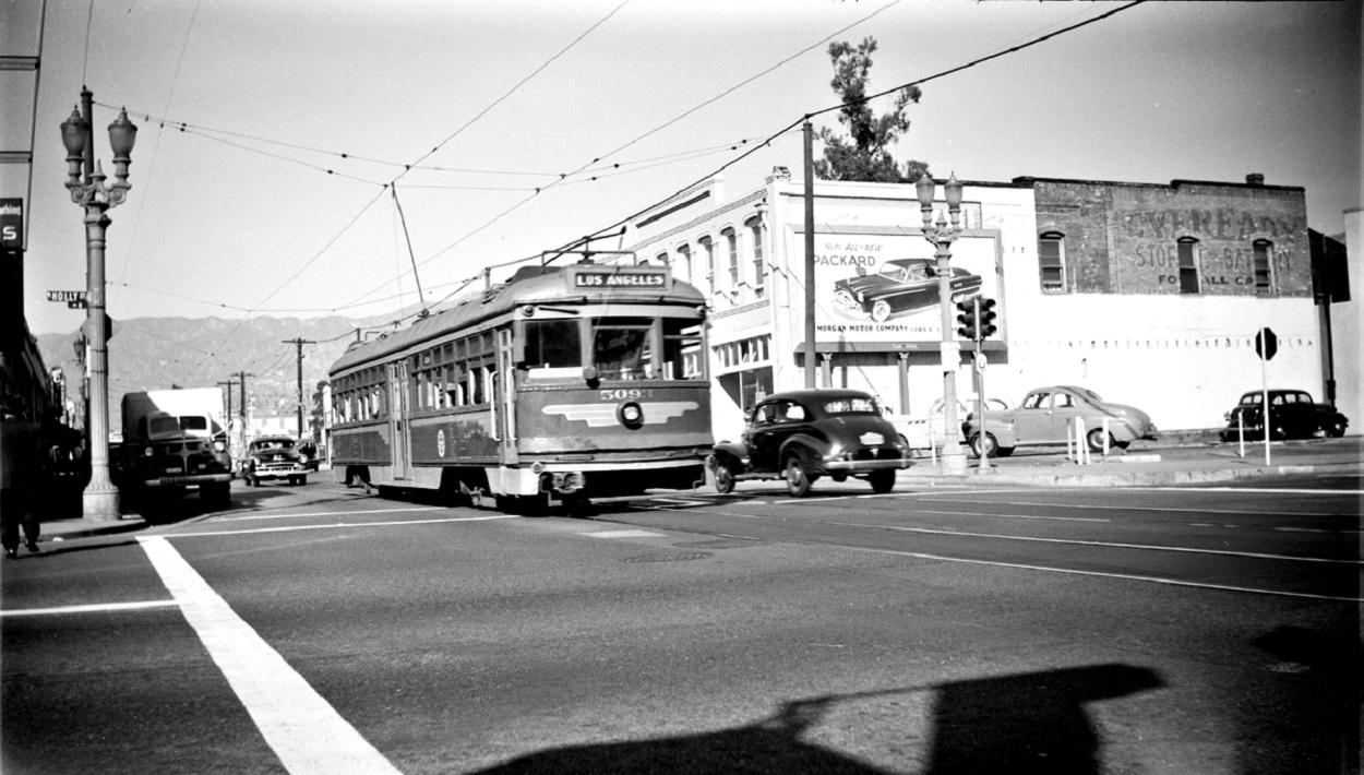PE 5093 Pasadena Short Line, Fair Oaks at Holly Street, November 4, 1950