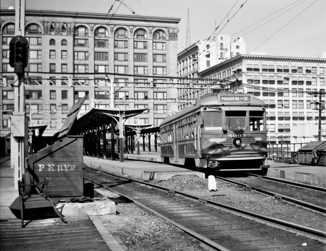 PE 5093 Pasadena Short Line, Main Street Station, May 4, 1950