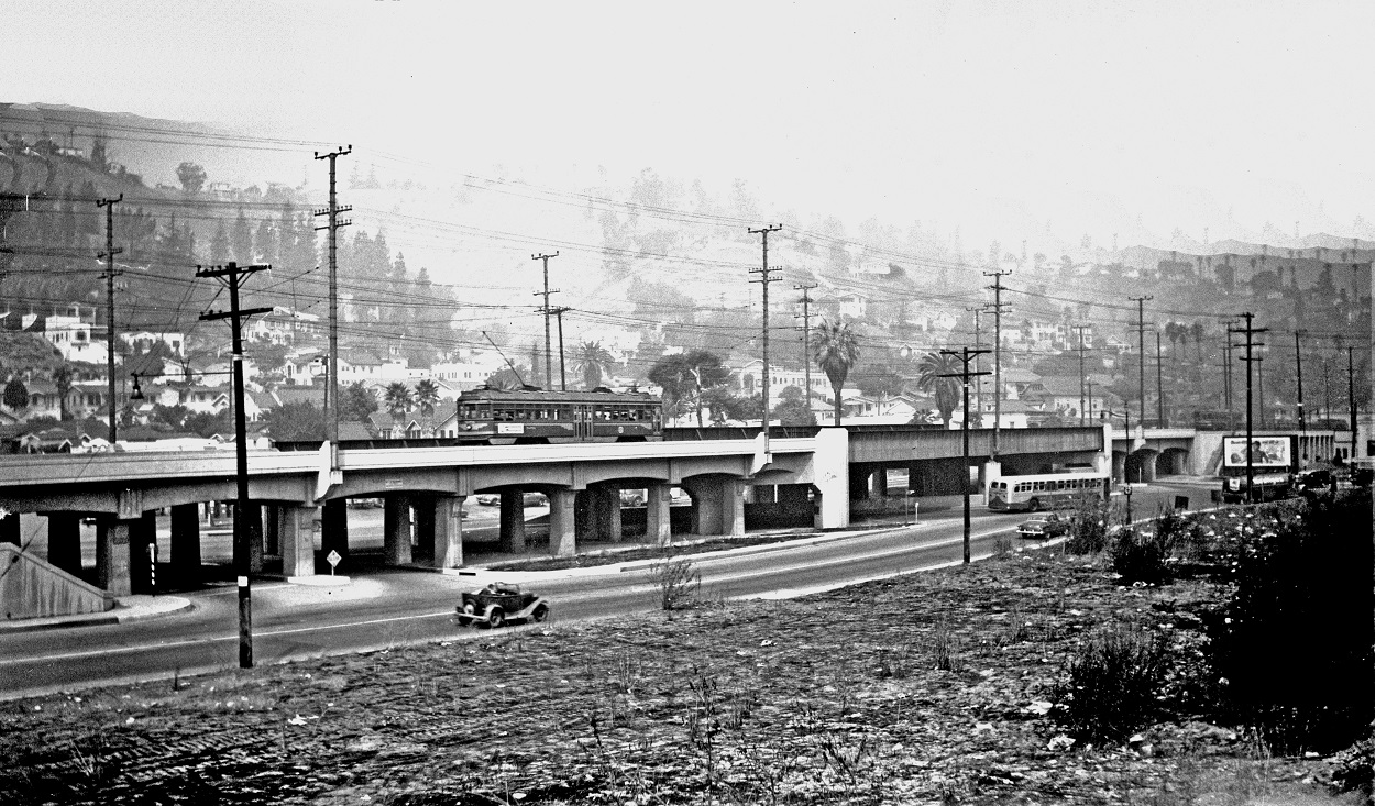 Pacific Electric Pasadena Short Line Mission at Huntington Drive viaduct, 1951