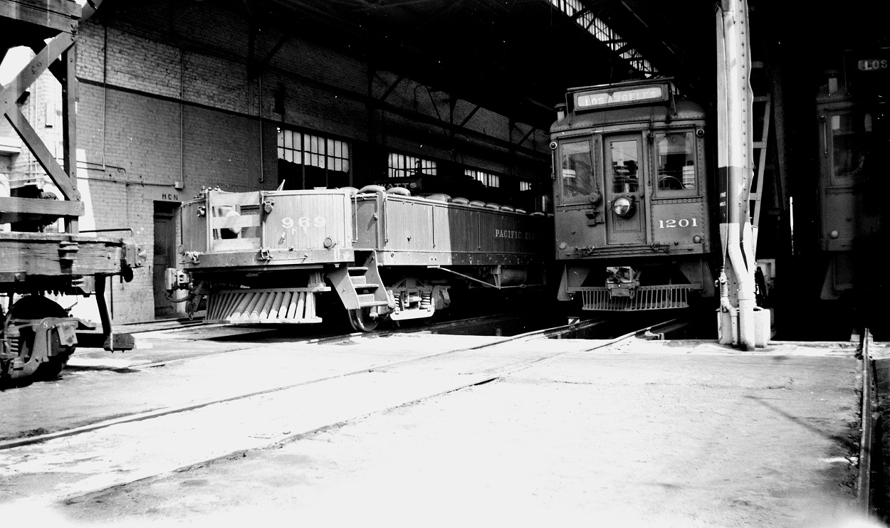 PE 969 and 1201 at Macy Street Car House and Shops, October 7, 1950