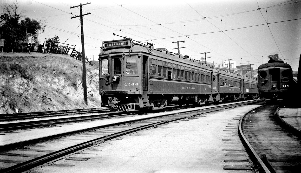 Pacific Electric 1244 and 418 at Macy Street Car House, October 14, 1950