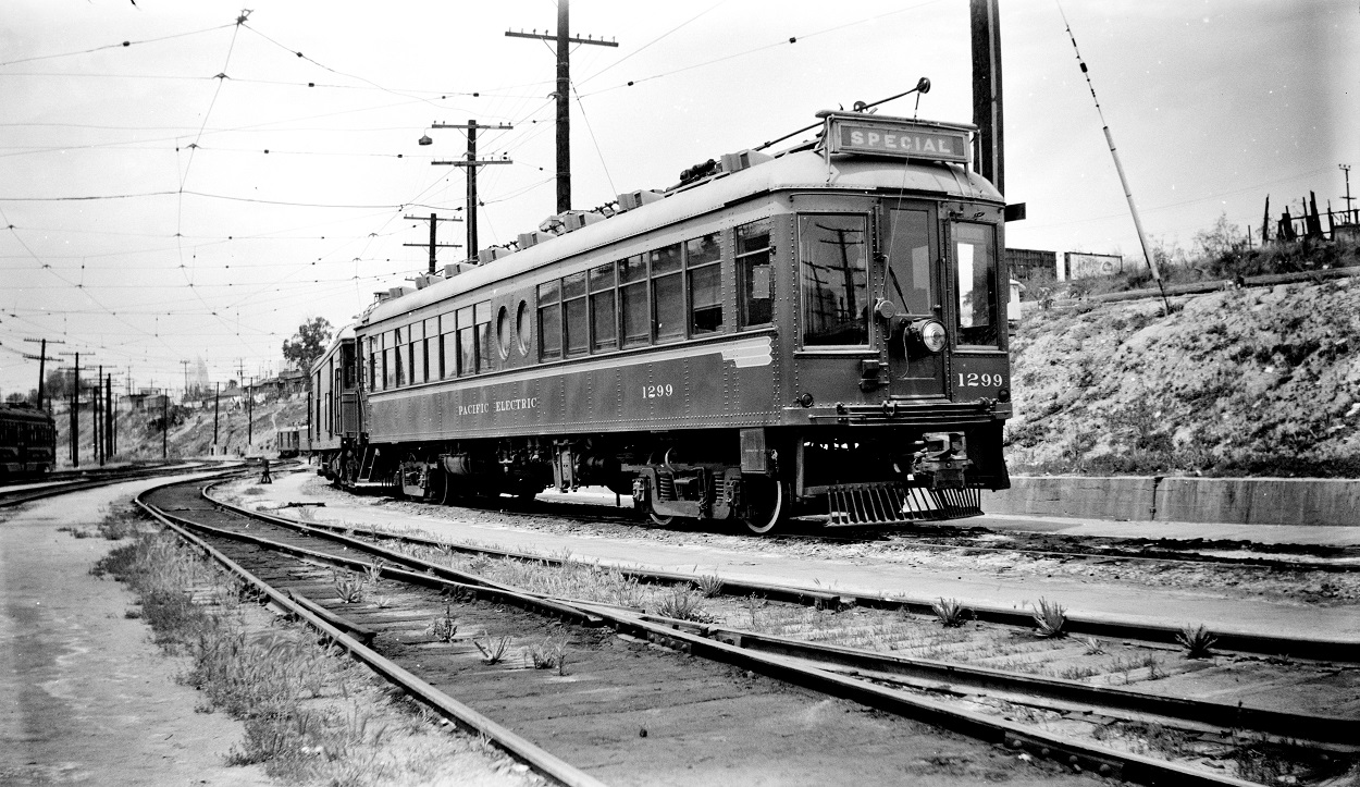 Pacific Electric 1299 at Macy Street Car House, May 16, 1951