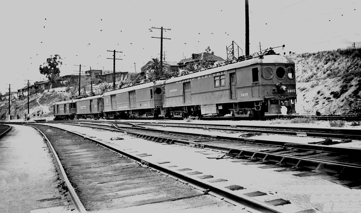 Pacific Electric 1405 at Macy Street Car House, May 16, 1951