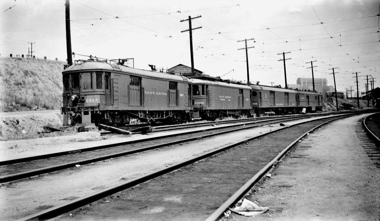 Pacific Electric 1413, 00162 at Macy Street Car House, May 16, 1951