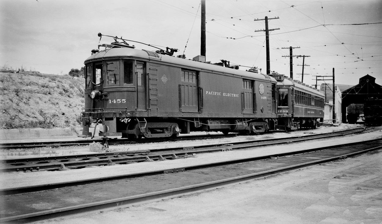 Pacific Electric 1455 and 1299 at Macy Street Car House, May 16, 1951
