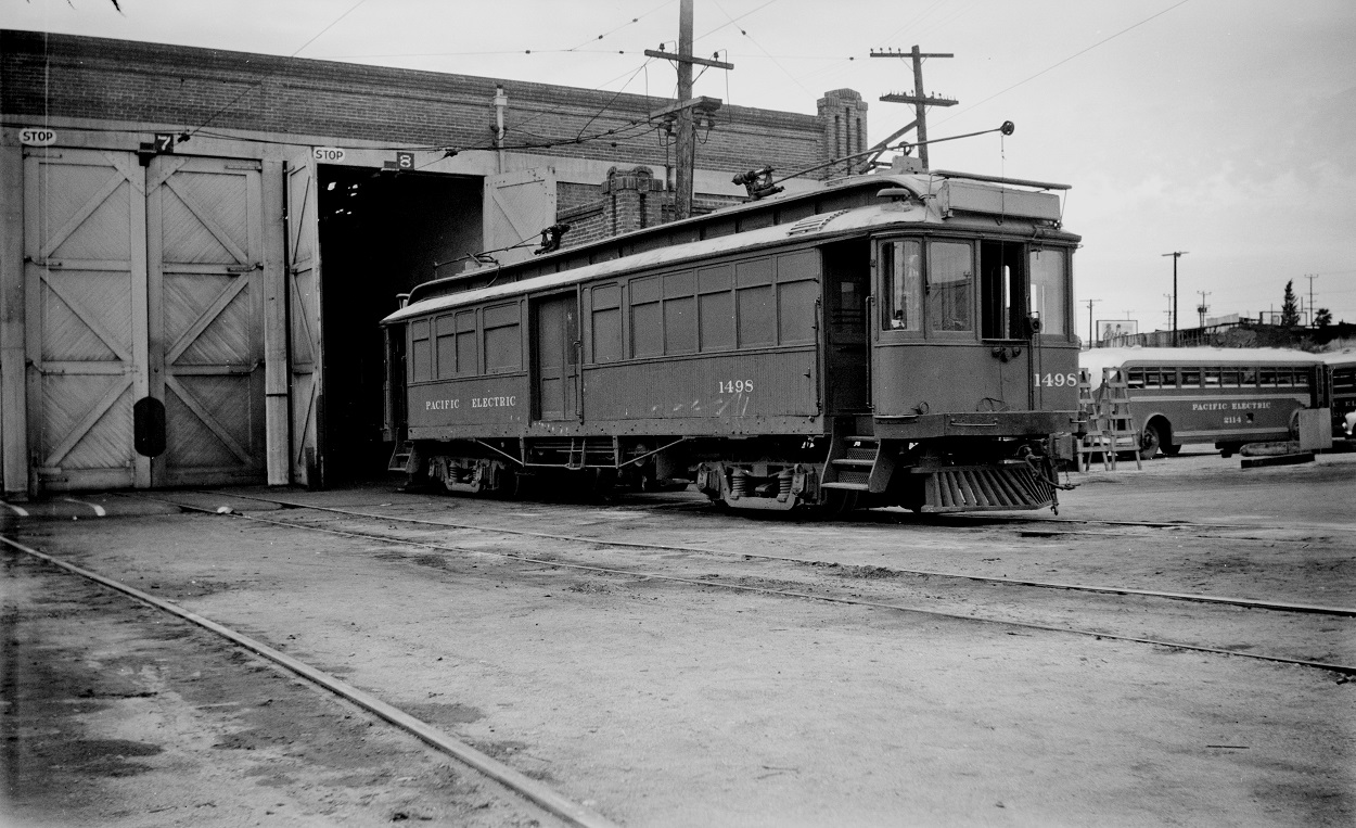Pacific Electric 1498 at Macy Street Car House, May 16, 1951