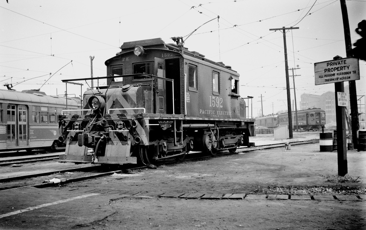 Pacific Electric 1592 at Macy Street Car House, September 8, 1951