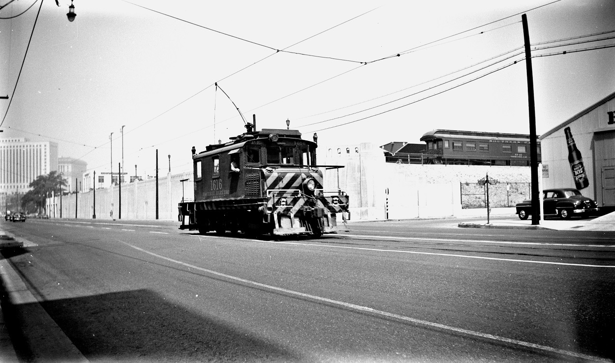 Pacific Electric 16116 at Macy Street and Vignes, September 1, 1951