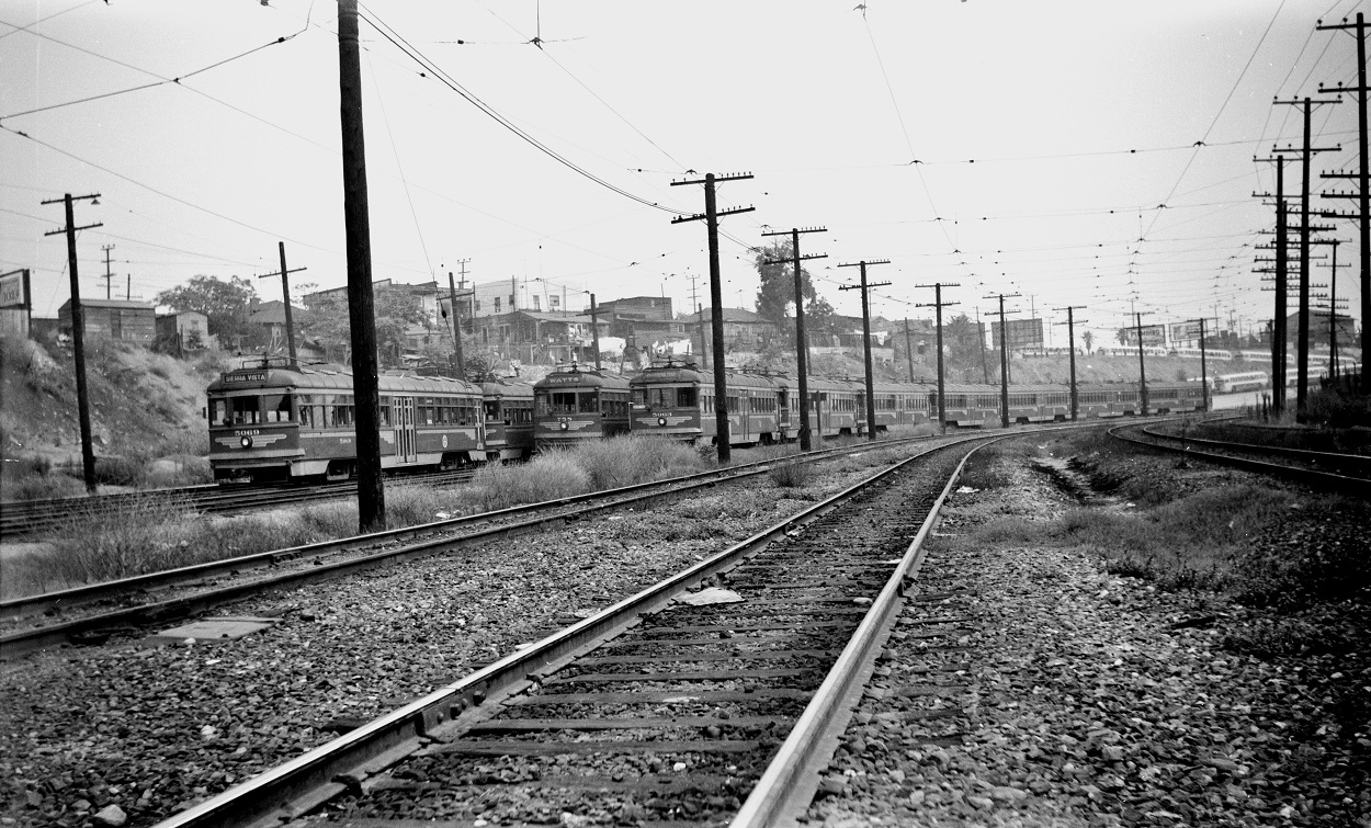 Pacific Electric 5069 on the main line at Macy Street, September 6, 1951