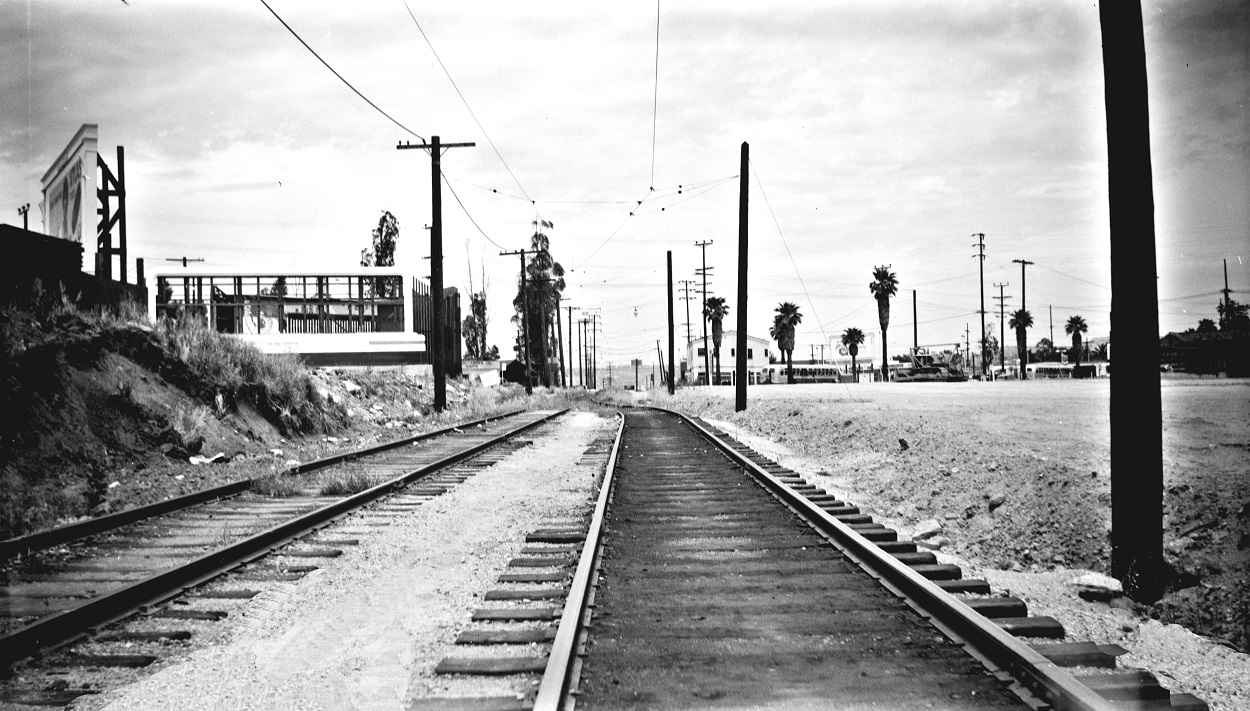 Pacific Electric remnants of South Pasadena Line looking north to Mission Road, May 16, 1951