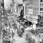 LARy cars on Broadway at 7th in 1941