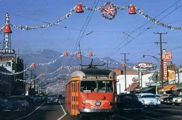 Pacific Electric no. 5028, Christmas 1954.