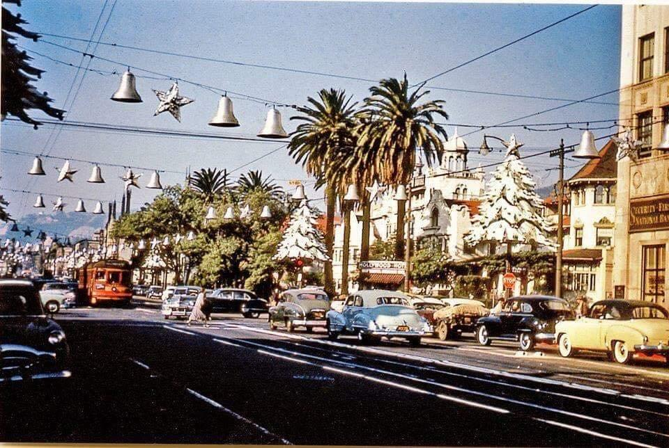 Pacific Electric no. 5150 at Hollywood and Highland, 1953.