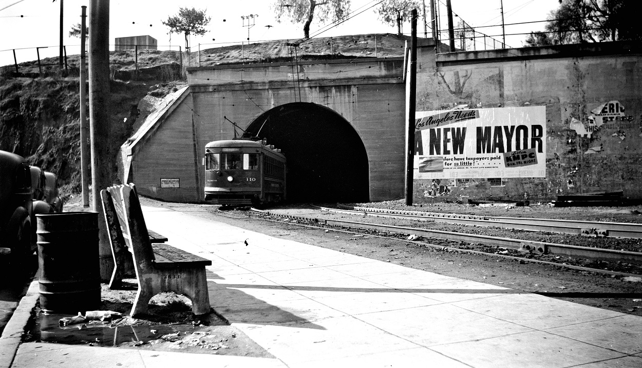 Alan K. Weeks photo. All Rights Reserved. Domino6145@aol.com Photographer: Alan K Weeks Location: Hill Street Rail Tunnel at the Sunset Blvd Entrance. Los Angeles, California Date: March 5 1949 Railroad: Pacific Electric Car#: PE 110 Line: Echo Park Blvd Line Filed in Envelope 24 Image Notes: Scanned Steve Crise Photo 2014