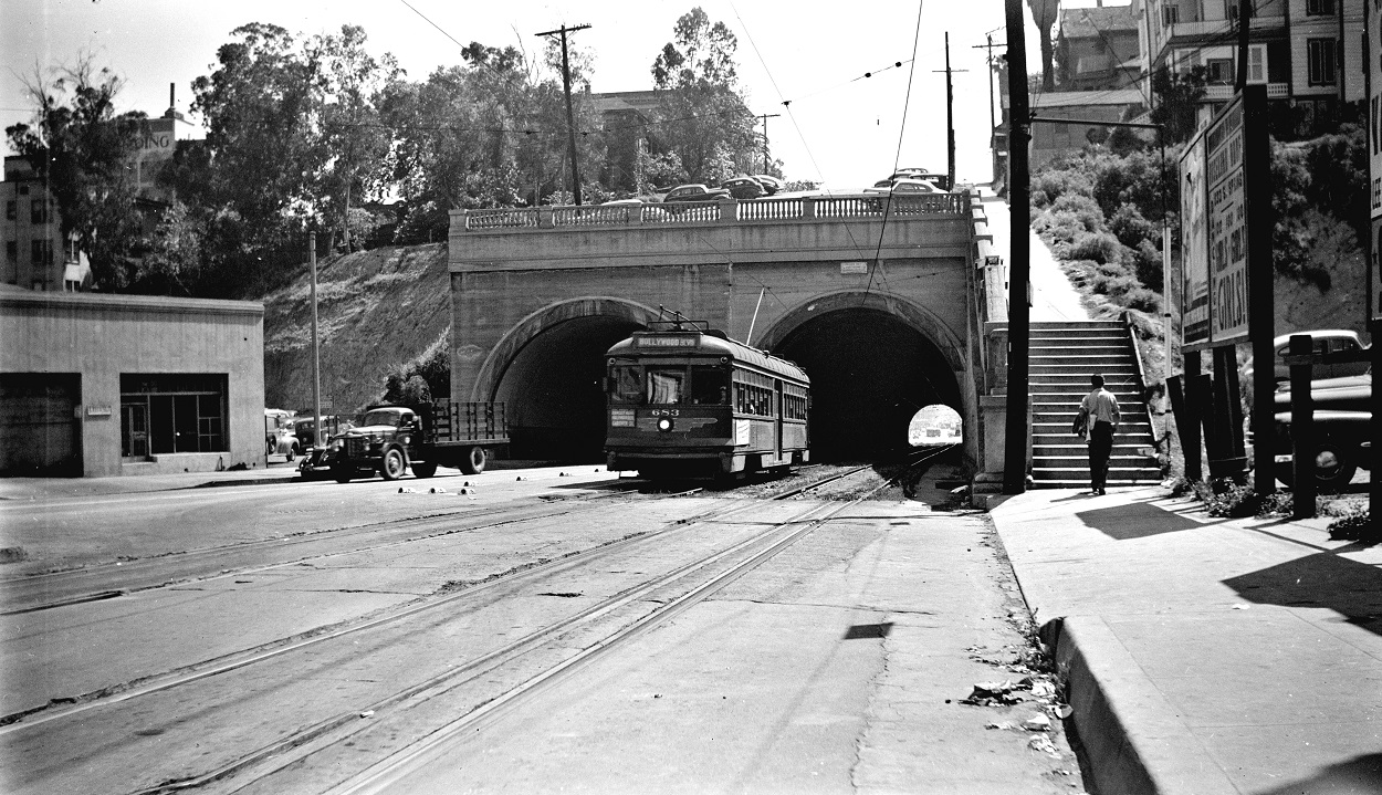 Alan K. Weeks photo. All Rights Reserved. Domino6145@aol.com Photographer: Alan K Weeks Location: Hill Street Tunnel at Temple and Hill Streets. Los Angeles, California Date: May 28 1949 Railroad: Pacific Electric Car#: PE 683 Line: Hollywood Blvd Line Filed in Envelope 24 Image Notes: Scanned Steve Crise Photo 2014