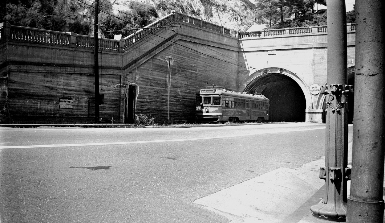 Alan K. Weeks photo. All Rights Reserved. Domino6145@aol.com Photographer: Alan K Weeks Location: Hill Street Tunnel at 1st Street. Los Angeles, California Date: June 10 1949 Railroad: Pacific Electric Car#: PE 693 Line: Hollywood Blvd Line Filed in Envelope 24 Image Notes: Scanned Steve Crise Photo 2014