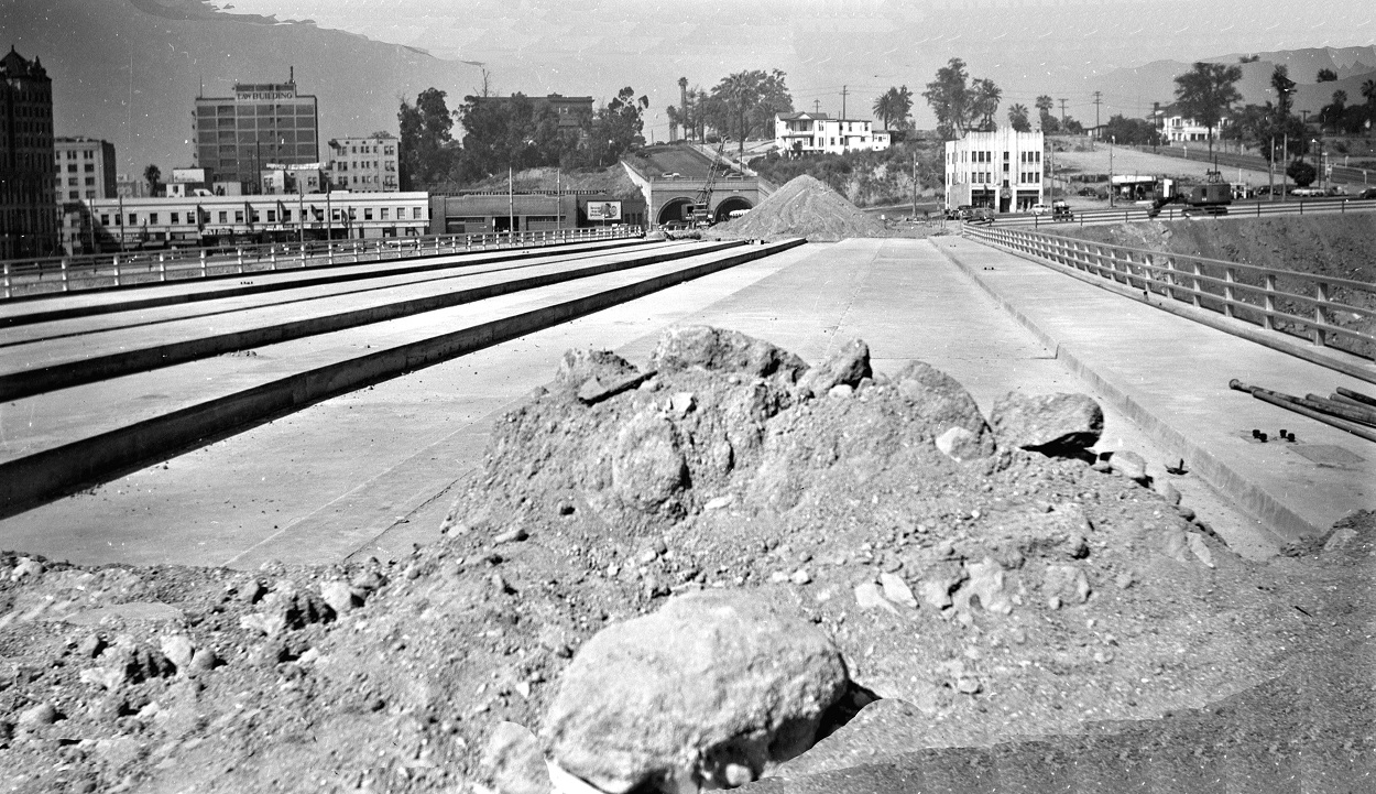 Alan K. Weeks photo. All Rights Reserved. Domino6145@aol.com Photographer: Alan K Weeks Location: Hill Street Bridge (over the 101 / Hollywood Freeway). Notice provision for rails on bridge. Los Angeles, California Date: July 7 1951 Railroad: Pacific Electric Car#: PE none Line: Under Construction Filed in Envelope 24 Image Notes: Scanned Steve Crise Photo 2014