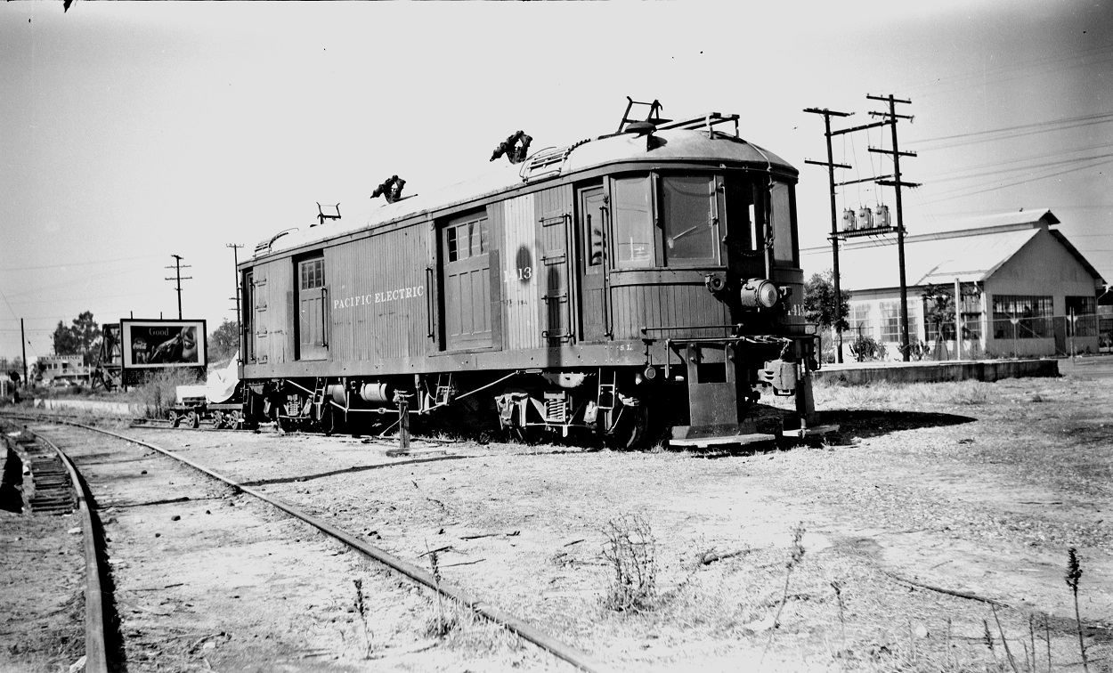 Alan K. Weeks photo. All Rights Reserved. Domino6145@aol.com Photographer: Alan K Weeks Location: Baldwin Park, California Date: October 1951 Railroad: Pacific Electric Car#: PE 1413 Line: Baldwin Park Filed in Envelope 25 Image Notes: Car 1413 sub station Baldwin Park Scanned Steve Crise Photo 2014