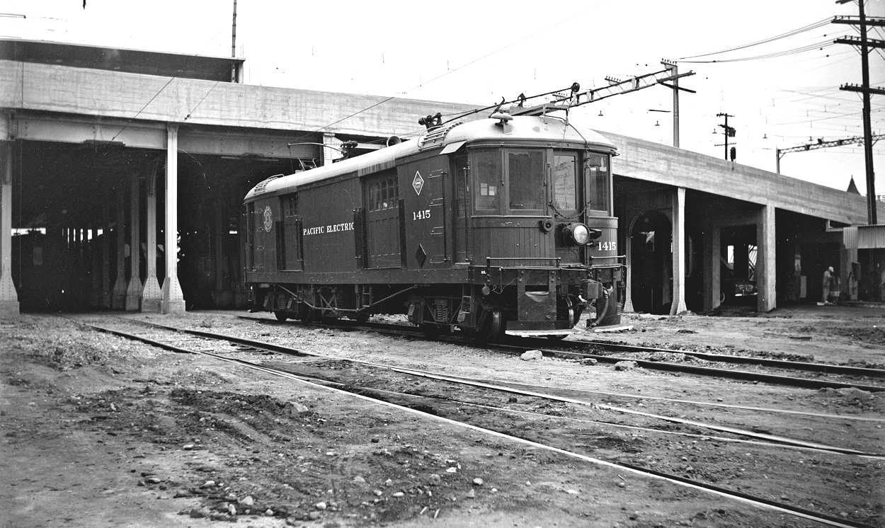 Alan K. Weeks photo. All Rights Reserved. Domino6145@aol.com Photographer: Alan K Weeks Location: Los Angeles Street Yard (6th & Mains Street) Los Angeles, California Date: July 9 1950 Railroad: Pacific Electric Car#: PE 1415 Line: Filed in Envelope 25 Image Notes: Scanned Steve Crise Photo 2014