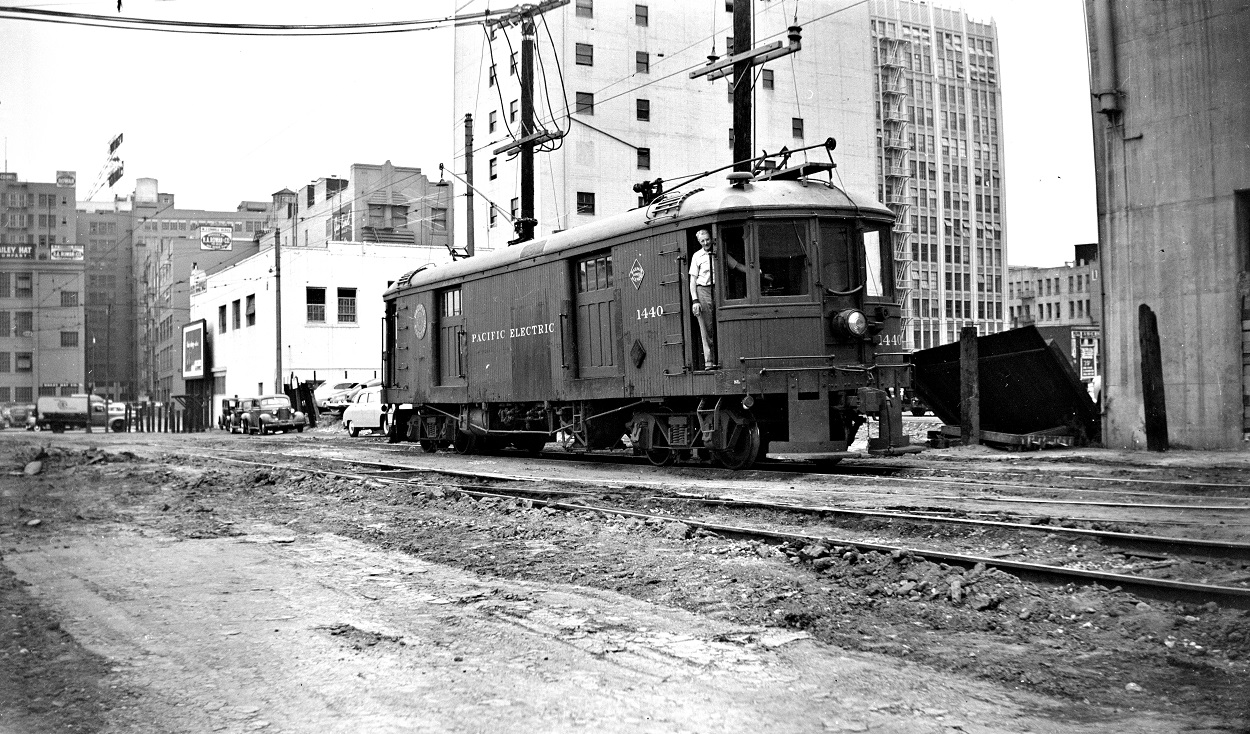 Alan K. Weeks photo. All Rights Reserved. Domino6145@aol.com Photographer: Alan K Weeks Location: Los Angeles Street (6th & Main Street Station surface tracks) , Los Angeles, California Date: July 1 1950 Railroad: Pacific Electric Car#: PE 1440 Line: Santa Ana Line Filed in Envelope 25 Image Notes: Los Angeles St Yd Scanned Steve Crise Photo 2014