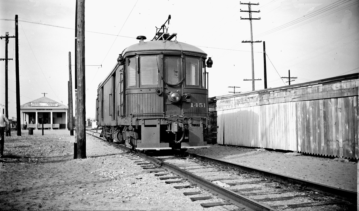 Alan K. Weeks photo. All Rights Reserved. Domino6145@aol.com Photographer: Alan K Weeks Location: Newport Beach, California Date: January 10 1948 Railroad: Pacific Electric Car#: PE 1451 Line: Newport Balboa Line Filed in Envelope 25 Image Notes: Scanned Steve Crise Photo 2014