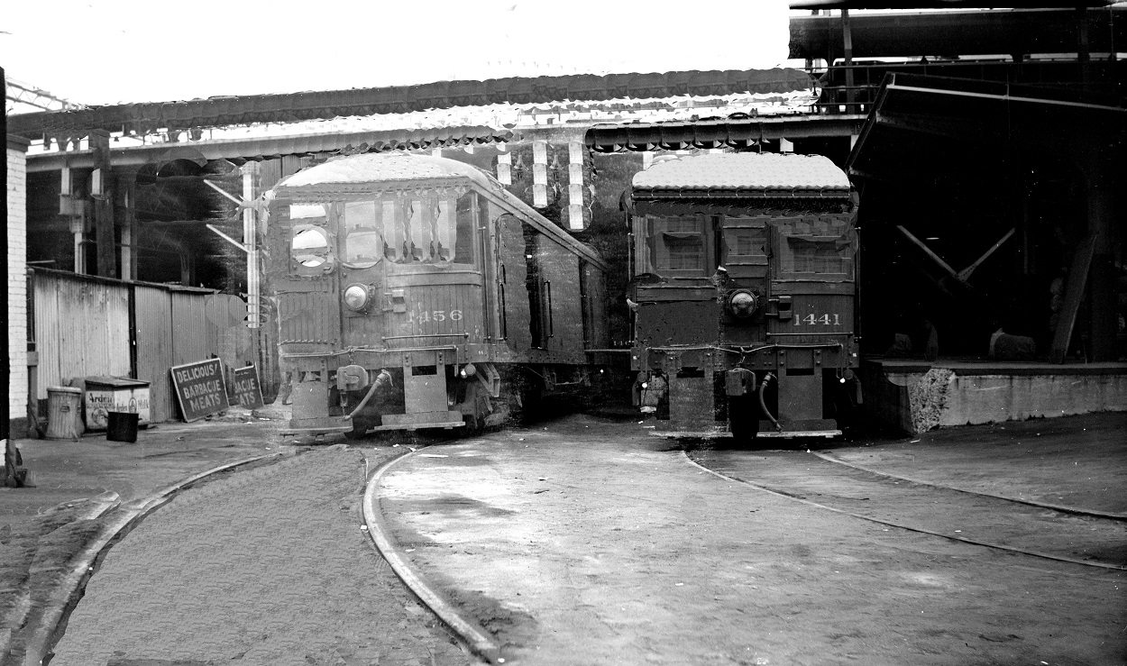 Alan K. Weeks photo. All Rights Reserved. Domino6145@aol.com Photographer: Alan K Weeks Location: Main Street Station surface track / freight station, Los Angeles, California Date: July 9 1950 Railroad: Pacific Electric Car#: PE 1456 PE 1441 Line: Filed in Envelope 25 Image Notes: Cars 1456, 1441 Main Street freight station Scanned Steve Crise Photo 2014