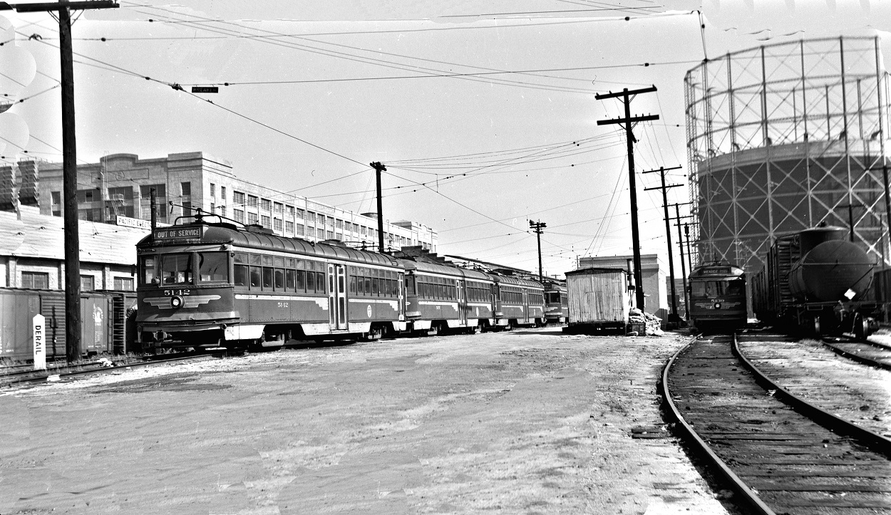 Alan K. Weeks photo. All Rights Reserved. Domino6145@aol.com Photographer: Alan K Weeks Location: 8th Street Yard, 8th and Alameda Streets, Los Angeles, California Date: March 1955 Railroad: Pacific Electric Car#: PE 5142 Line: none Filed in Envelope 25 Image Notes: Scanned Steve Crise Photo 2014