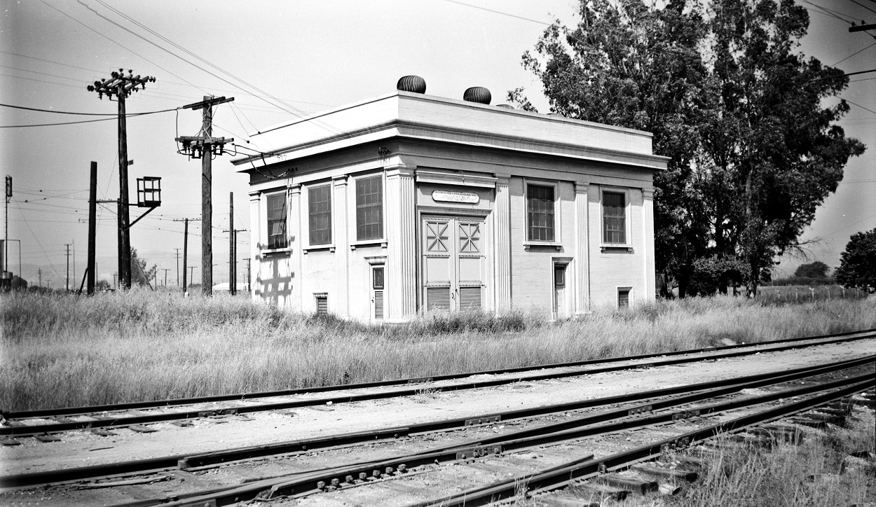 Alan K. Weeks photo. All Rights Reserved. Domino6145@aol.com Photographer: Alan K Weeks Location: Los Nietos, California. Date: June 2 1952 Railroad: Pacific Electric Car#: PE Los Nietos Sub Station #10 Line: Whittier Yorba Linda Line Filed in Envelope 26 Image Notes: Scanned Steve Crise Photo 2014