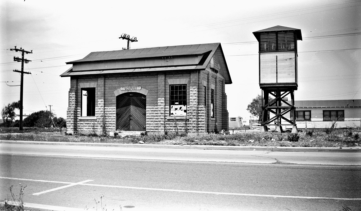 Alan K. Weeks photo. All Rights Reserved. Domino6145@aol.com Photographer: Alan K Weeks Location: Newport Beach California Date: June 2 1952 Railroad: Pacific Electric Car#: P.E. Newport Sub Station # 18 Line: Newport Balboa Line Filed in Envelope 26 Image Notes: Scanned Steve Crise Photo 2014