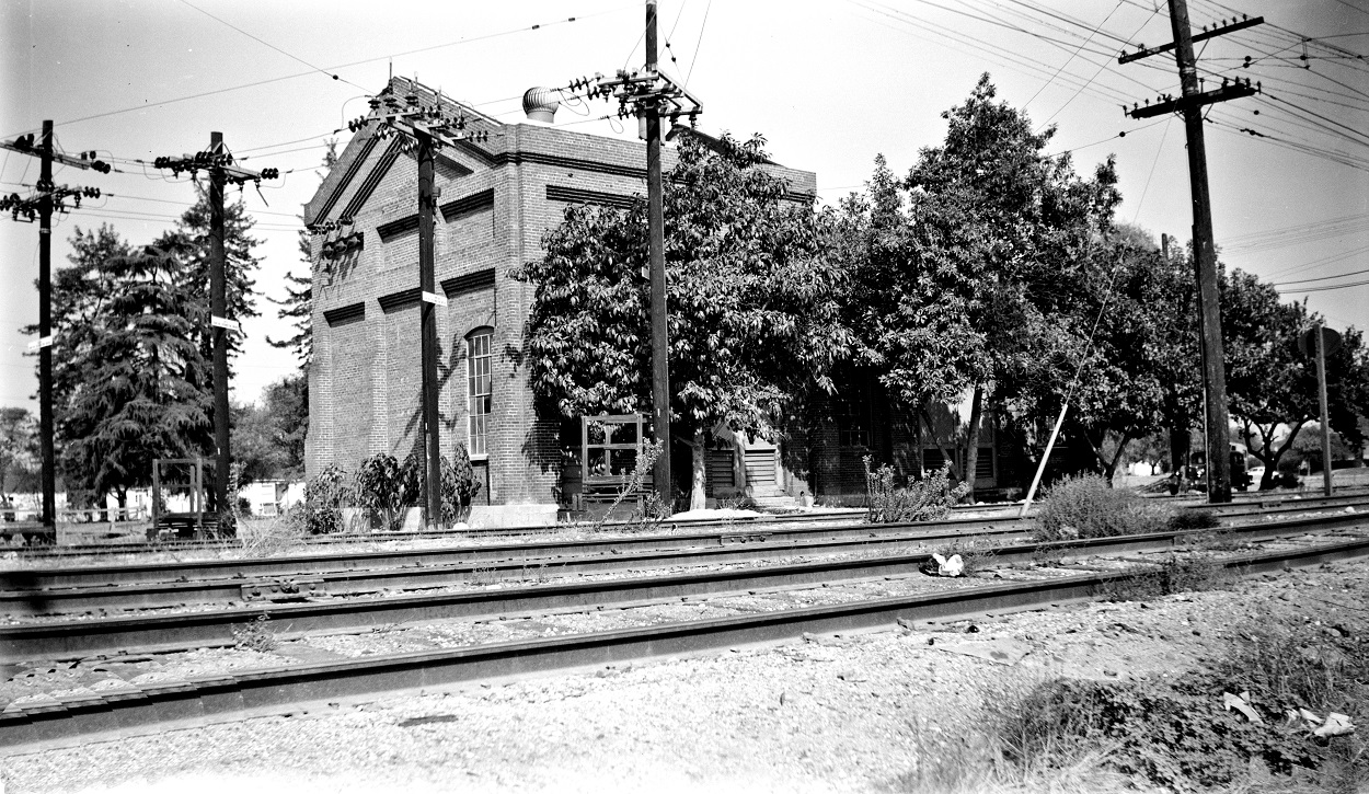 Alan K. Weeks photo. All Rights Reserved. Domino6145@aol.com Photographer: Alan K Weeks Location: Romona Date: October 1951 Railroad: Pacific Electric Car#: PE Ramona Sub Station # 20 Line: San Bernardino Line Filed in Envelope 26 Image Notes: Scanned Steve Crise Photo 2014