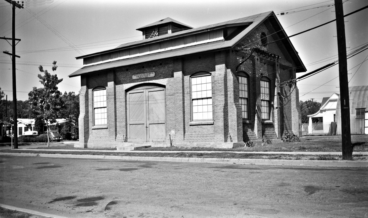 Alan K. Weeks photo. All Rights Reserved. Domino6145@aol.com Photographer: Alan K Weeks Location: Santa Ana California Date: June 10 1952 Railroad: Pacific Electric Car#: P.E Sub Station # 14 Line: Santa Ana Line Filed in Envelope 26 Image Notes: Scanned Steve Crise Photo 2014