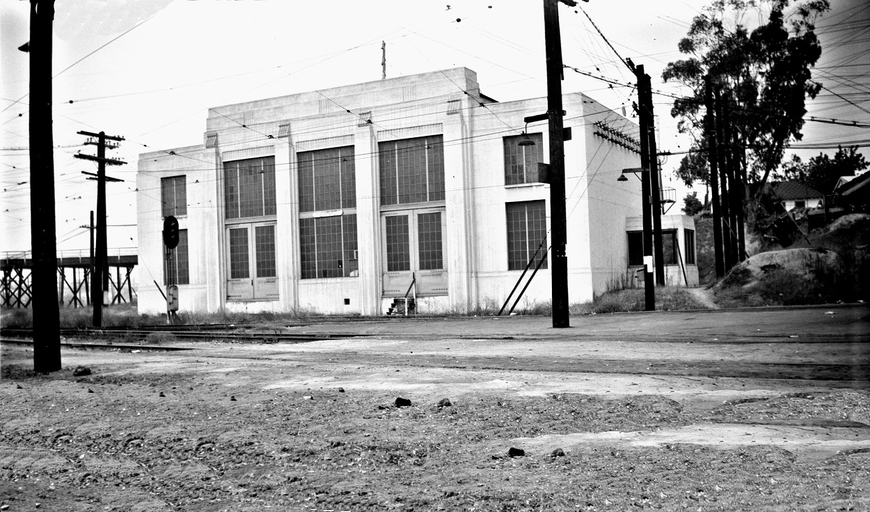 Alan K. Weeks photo. All Rights Reserved. Domino6145@aol.com Photographer: Alan K Weeks Location: Near the intersection of State Street and Romona Expressway, present day I-10. Date: September 6 1951 Railroad: Pacific Electric Car#: P.E. Valley Junction Sub Station # 3 Line: San Bernardino / Pasadena Short Line / Monrovia Glendora Lines Filed in Envelope 26 Image Notes: Scanned Steve Crise Photo 2014